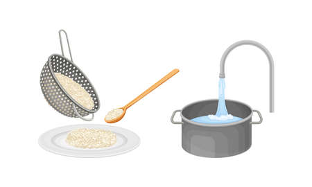 Rice cooking process set. Rinsing rice with running water vector illustration