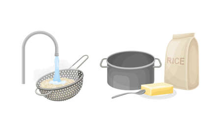 Rice cooking process set. Rinsing rice with running water and cooking ingredients vector illustration
