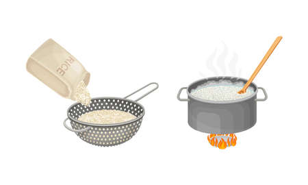 Rice cooking process set. Rinsing and boiling rice vector illustration on white background 矢量图像