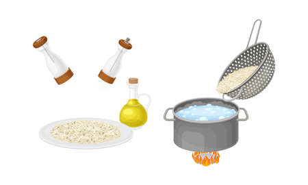 Rice cooking process set. Boiling and serving porridge in bowl vector illustration on white background 矢量图像