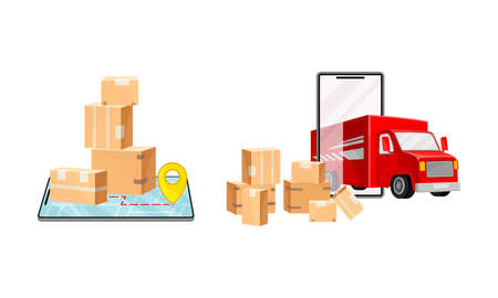 Online delivery service set. Order tracking, technology and logistics concept vector illustration