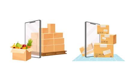 Delivery service set. Online order tracking technology and logistics concept vector illustration 矢量图像