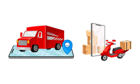 Online delivery service set. Red truck delivering parcel box. Order tracking technology and logistics concept vector illustration 矢量图像