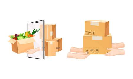 Delivery service set. Mobile app order tracking technology and logistics concept vector illustration