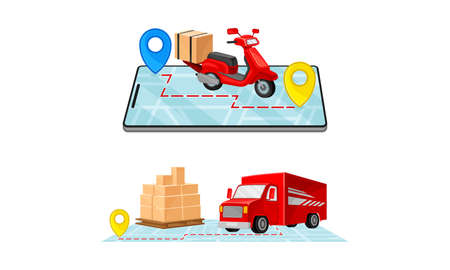 Delivery service set. Truck and scooter delivering parcel box. Online order tracking technology and logistics concept vector illustration