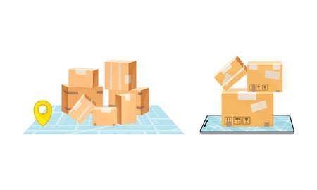 Delivery service set. Online order order tracking technology concept vector illustration