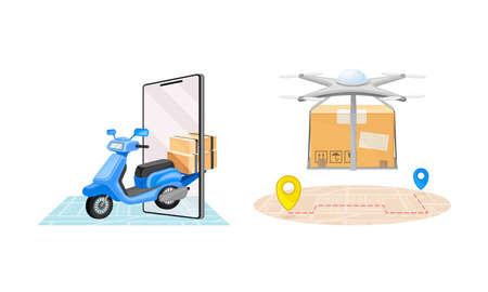 Online delivery service set. Scooter delivering parcel box. Order tracking technology and logistics concept vector illustration 矢量图像