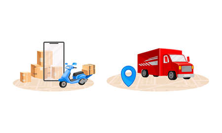 Online delivery service set. Red truck and scooter delivering parcel boxes. Order tracking technology and logistics concept vector illustration