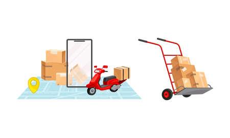 Parcel box delivering set. Online order tracking technology and logistics concept vector illustration
