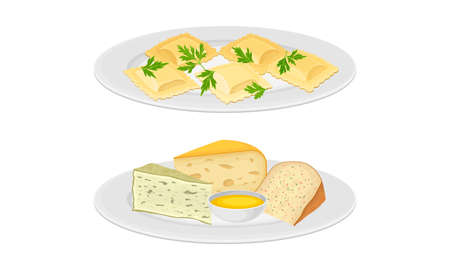 Italian cuisine dishes set. Ravioli and different types of cheese vector illustration 矢量图像