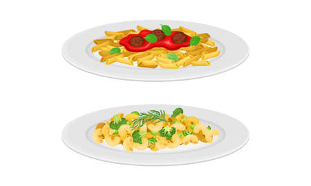 Italian cuisine dishes set. Traditional pasta with vegetable sauce vector illustration