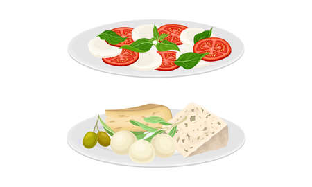 Italian cuisine dishes set. Caprese and different types of cheese vector illustration 矢量图像