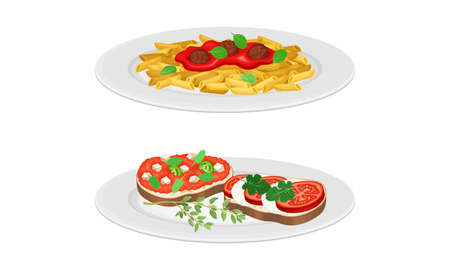 Italian cuisine dishes set. Bruschetta and pasta with vegetable sauce vector illustration 矢量图像