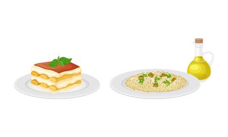 Italian traditional food set. Risotto and tiramisu tasty dishes vector illustration