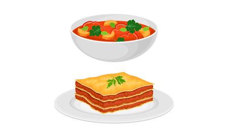 Italian traditional food set. Lasagna and minestrone tasty dishes vector illustration