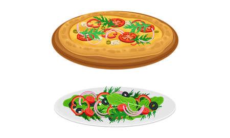Italian traditional food set. Pizza and salad, tasty dishes on plates vector illustration 矢量图像
