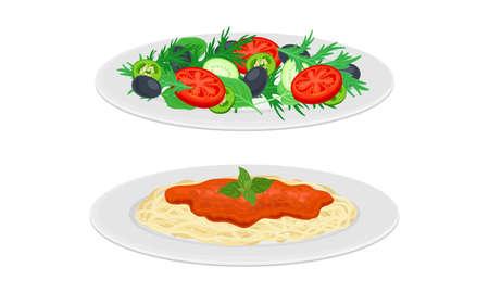 Italian traditional food set. Spaghetti and salad, tasty dishes on plates vector illustration