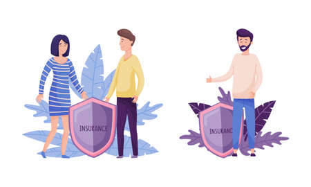 Human life and health insurance, family protection concept. Human hands over people protecting against accidents flat vector illustration