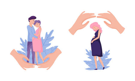Maternity and family protection concept. Human hands protecting them against accidents flat vector illustration 矢量图像