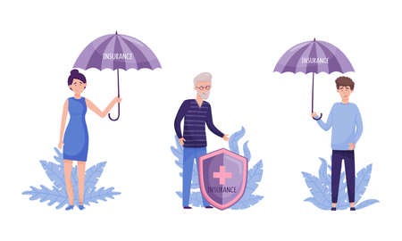 Human life and health insurance set. Umbrella over people protecting them against accidents flat vector illustration 矢量图像
