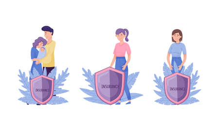 Human life and health insurance set. Shield protecting them against accidents flat vector illustration