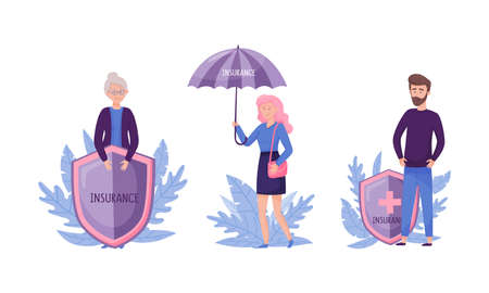 Human life and health insurance set. Umbrella and shield protecting them against accidents flat vector illustration