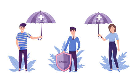 People protection set. Human life and health insurance. Umbrella and shield protecting them against accidents flat vector illustration 矢量图像