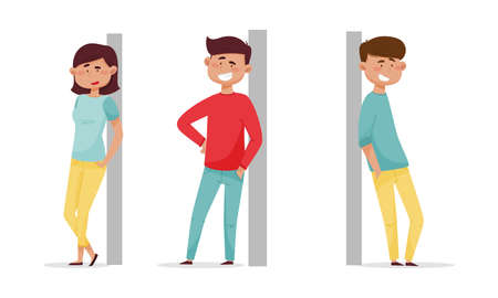 People leaned against the wall set. Cheerful relaxed young man and woman cartoon vector illustration isolated on white background 矢量图像
