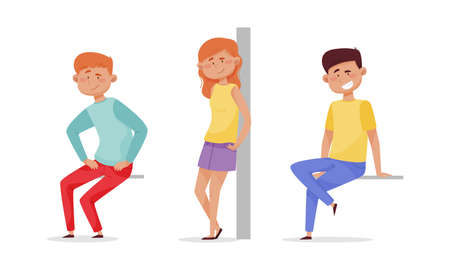 People sitting and standing leaned against the wall set. Cheerful relaxed young man and woman cartoon vector illustration