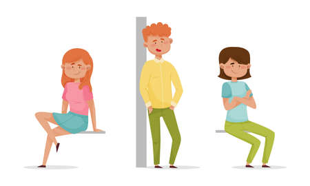 People sitting and standing leaned against the wall set. Cheerful relaxed girls and boys characters cartoon vector illustration 矢量图像