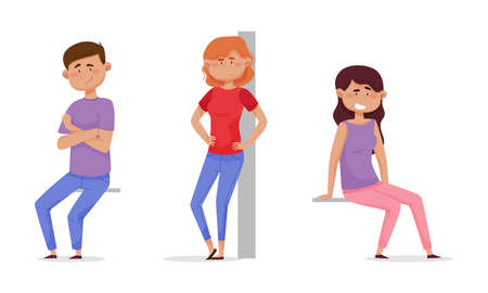 People sitting and standing leaned against the wall set. Relaxed girls and boy cartoon vector illustration