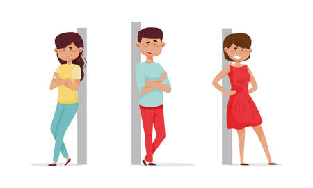 Cheerful people leaned against the wall set. Relaxed young man and woman cartoon vector illustration 矢量图像