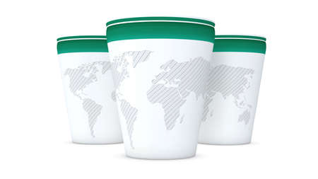 Paper cup world map graphic