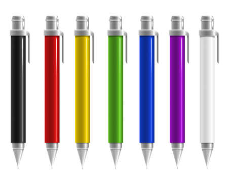 Colorful pen on white background  Stock Photo
