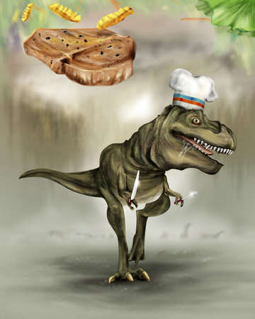 T-REX Hungry  is  Chef Dieter dinosaur chasing food