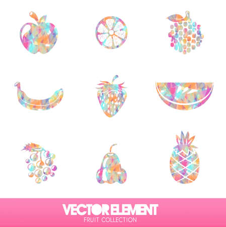 Fruit in vector format on my Allround Black. A lot of colorful sparkling diamonds. Stock Vector - 19267845