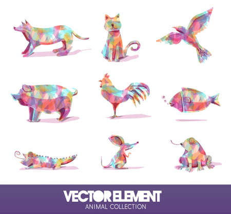 little dog: Farm animals in vector format on a colored background diamond Illustration