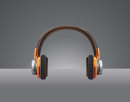 Detailed vector headphone color orange on dark background Stock Vector - 19689946