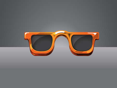 eye wear: Detailed vector sunglass color orange on dark background