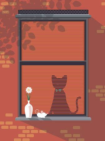 window sill: Cat in a window
