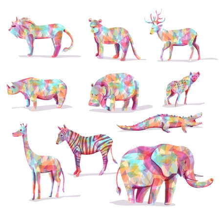 stuffed animals: Set of wild animal vector safari in diamond shape colorful