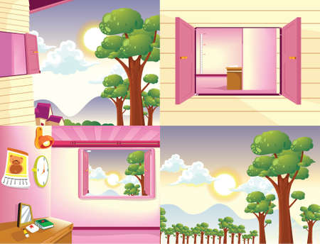 cartoon land: Background vector cartoon food land outdoor and animal element