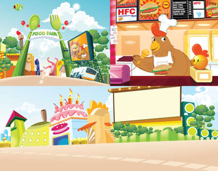 Background vector cartoon food land outdoor and animal element