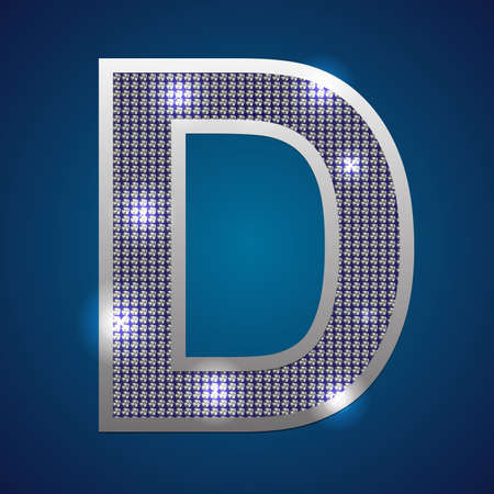 Text font  D  set in diamonds and silver  Vector  Vector