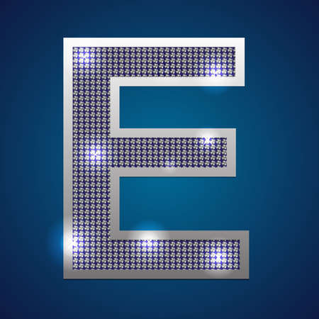 Text font E  set in diamonds and silver  Vector  Vector