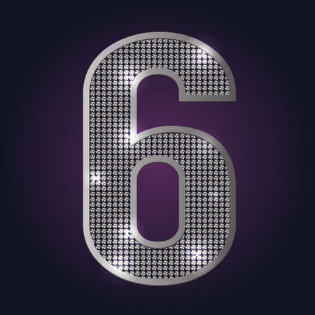 Number 6 blink blink vector on dark background Vector