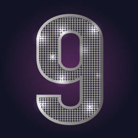Number 9 blink blink vector on dark background