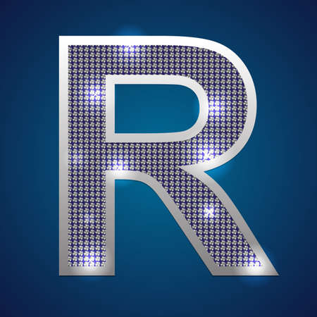 Text font R  set in diamonds and silver  Vector  Vector
