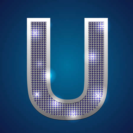 Text font  U  set in diamonds and silver  Vector  Vector