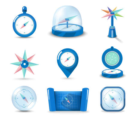 north star: Vector set icon compass